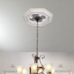 White and Silver Four Leaf Clover Octagon Chandelier Ceiling Medallion 24in