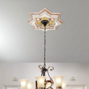 Ivory and Gold Eight Pointed Star Chandelier Ceiling Medallion 24in