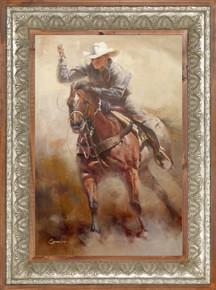 Trick Roping Cowboy Framed