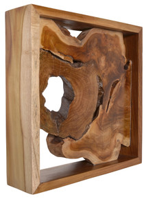 Teak Natural Wall Decor in a Flame