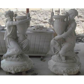Pair-White Marble Ladies w/Jugs