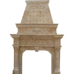 Monumental Travertine Trompeleoil Mantel