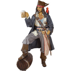 Caribbean Pirate Life Size Statue with Rum and Parrot