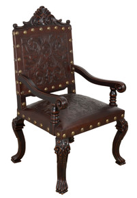 Carved Leather Arm Chair