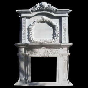 2 Tier White Marble Mantel (42x42) 4087