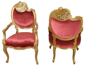 Pair of French Rococo Fireside Chairs