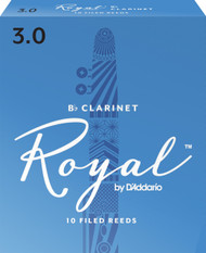 Rico Royal Bb Clarinet Reeds, Strength 3.0, 10-pack