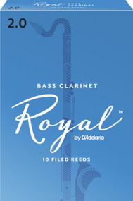 Rico Royal Bass Clarinet Reeds, Strength 2.0, 10-pack