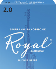 Rico Royal Soprano Sax Reeds, Strength 2.0, 10-pack