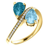 14k Aquamarine, London Blue Topaz & 1/8 CTW Diamond Ring