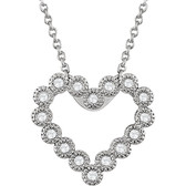 "14kt White 1/8 CTW Diamond Heart 18"" Necklace"