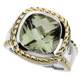 14kt White & Yellow Green Quartz & 1/10 CTW Diamond Ring