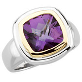 14kt White & Yellow Checkerboard Amethyst Ring