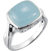 12x10mm Genuine Milky Aquamarine Ring