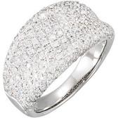14kt White 1 1/5 CTW Diamond Pavé Ring