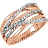 14kt Rose Rhodium Plated 1/3 CTW Diamond Ring