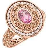 14kt Rose 7x5mm Pink Tourmaline & 1/5 CT Diamond Ring