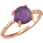 14kt Rose 8mm Round Cabochon Amethyst & 1/10 CTW Diamond Ring