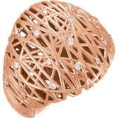 14kt Rose 1/5 CTW Diamond Nest Design Ring