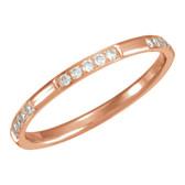 14kt Rose 1/6 CTW Diamond Eternity Band Size 6