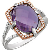 Sterling Silver Rose Gold Plated Amethyst & 1/5 CTW Diamond Ring Size 6