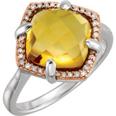 Sterling Silver Rose Gold Plated Citrine & 1/8 CTW Diamond Ring Size 6