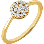 14kt Yellow 1/5 CTW Diamond Cluster Ring