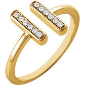 14kt Yellow 1/10 CTW Diamond Double Vertical Bar Ring