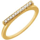 14kt Yellow 1/10 CTW Diamond Bar Ring