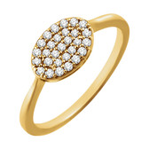 14kt Yellow 1/5 CTW Diamond Oval Cluster Ring