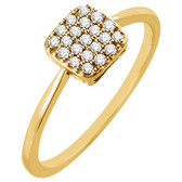 14kt Yellow 1/6 CTW Diamond Square Cluster Ring