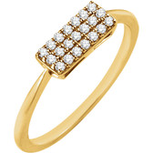 14kt Yellow 1/6 CTW Diamond Rectangle Cluster Ring