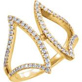 14kt Yellow 1/2 CTW Diamond Freeform Ring