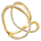 14kt Yellow 3/8 CTW Diamond Freeform Ring