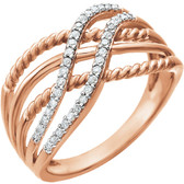 14kt Rose 1/6 CTW Diamond Ring