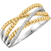 14kt White & 14kt Yellow Gold Plated .06 CTW Diamond Ring