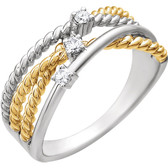 14kt White & 14kt Yellow Gold Plated 1/10 CTW Diamond Rope Ring