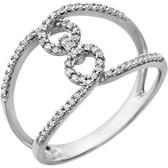 14kt White 1/5 CTW Diamond Interlocking Ring
