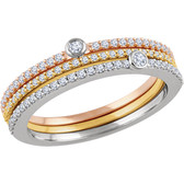 14kt White, Yellow & Rose 3/8 CTW Diamond Set of 3 Stackable Rings