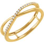 14kt Yellow 1/10 CTW Diamond Criss-Cross Ring