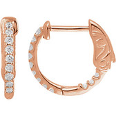 14kt Rose 1/4 CTW Diamond Inside/Outside Hoop Earrings