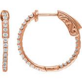 14kt Rose 1/2 CTW Diamond Inside/Outside Hoop Earrings