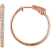 14kt Rose 1 CTW Diamond Inside/Outside Hoop Earrings