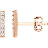 14kt Rose 1/10 CTW Diamond Vertical Bar Earrings