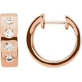 14kt Rose & Rhodium Plated 1/3 CTW Diamond Earrings