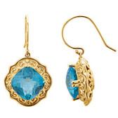 14kt Yellow 10x10mm Swiss Blue Topaz Earrings