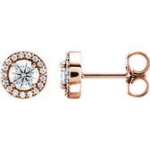 14kt Rose 1/2 CTW Diamond Halo-Style Earrings