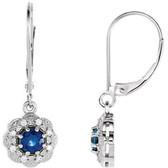 14kt White Blue Sapphire & 1/8 CTW Diamond Halo-Style Earrings