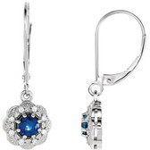 14kt Yellow Blue Sapphire & 1/8 CTW Diamond Halo-Style Earrings