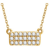 "14kt Yellow 1/6 CTW Diamond Rectangle Cluster 18"" Necklace"